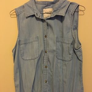 American Eagle Denim Top with Cutout detail